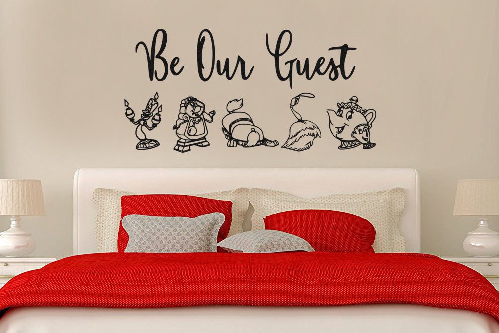 Lucky Girl Decals Wall Decor Sticker Quote Beauty And The Beast Wall Decal Sticker Be Our Guest! - Lucky Girl Decals