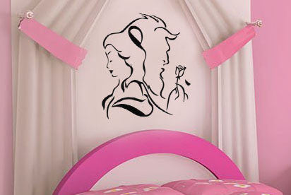 "Beauty And The Beast Beauty Beast Back To Back Wall Decal Sticker 11.7""w x 12.5""h"