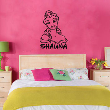 Lucky Girl Decals Wall Decor Sticker Quote Beauty And The Beast Wall Decal Sticker Belle Custom Name - Lucky Girl Decals