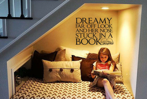 "Beauty And The Beast Dreamy Look Nose In Book Wall Decal Sticker 17.8"" W x 12.5"" H"