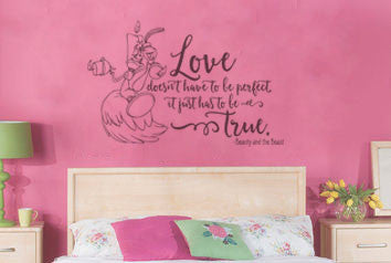 "Beauty And The Beast Love Doesn't Have To Be Perfect Wall Decal Sticker 19.3"" W x 12.5"" H"