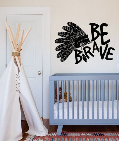 "Be Brave Indian Headdress Feathers Boho Bohemian Wall Decal Sticker 30""w x 21""h"
