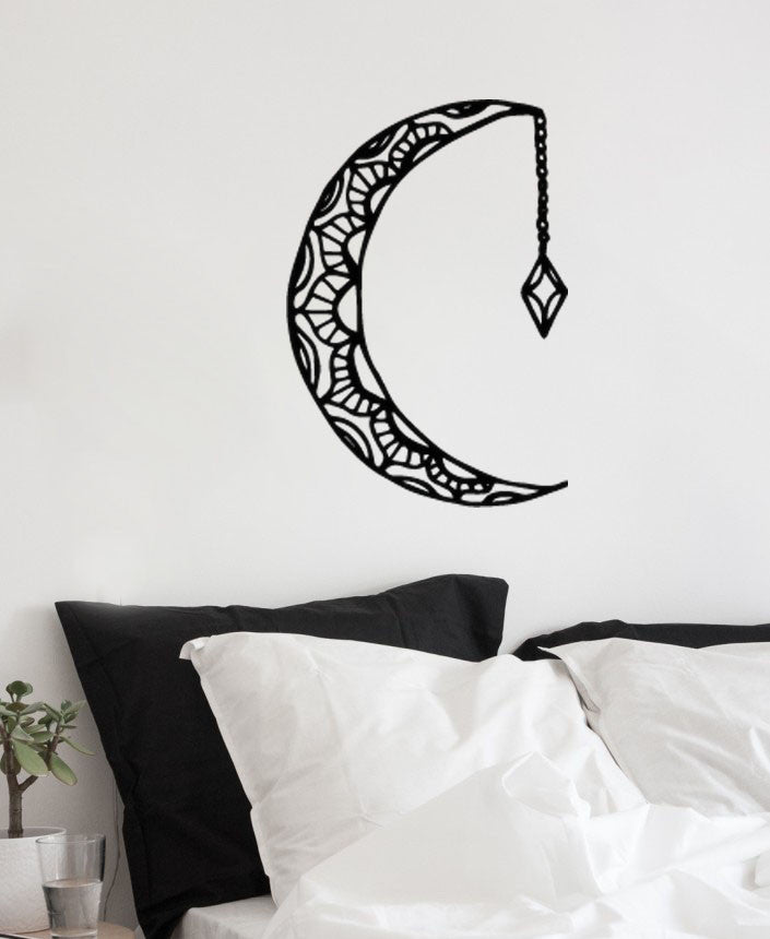 Boho Bohemian Moon with Hanging Crystal Wall Sticker Decal