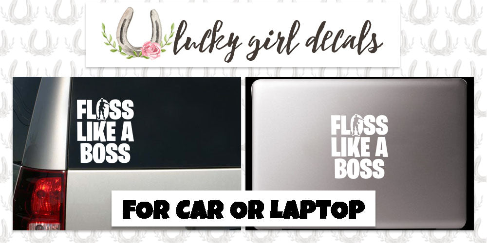 "Inspired by White Car Or Laptop Decal Sticker Fortnite Floss Like A Boss 4.8""W x 5""H"