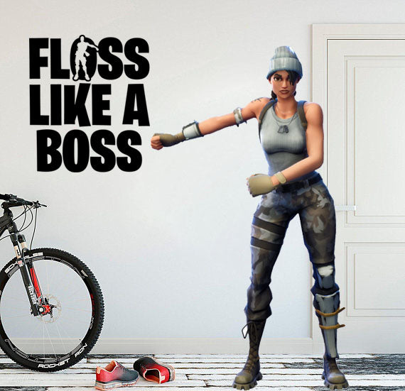 "Inspired by Fortnite Floss Like A Boss For Gamer Wall Decal Sticker 10.5"" W By 12"" H"