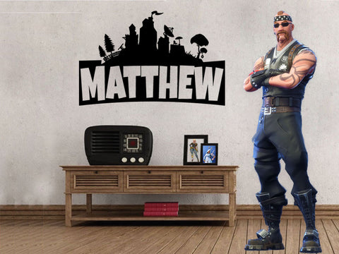 "Inspired by Fortnite Custom Personalized Name Wall Decal Sticker 18.4""w x 12""h"