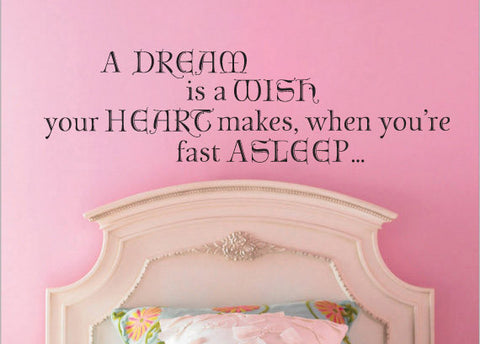 "A Dream Is A Wish Your Heart Makes Fast Asleep Cinderella Wall Decal Sticker 42.2""w x 12""h"