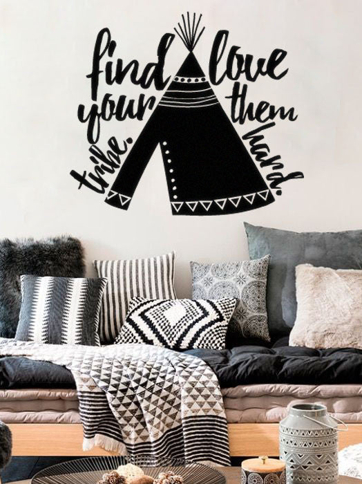 "Lucky Girl Decals Wall Decor Sticker Quote Lucky Girl Decals Wall Decor Sticker Quote Find Your Tribe Love Them Hard With Teepee Indian Boho Bohemian Wall Decal Sticker 24""W X 21""H - Lucky Girl Decals"