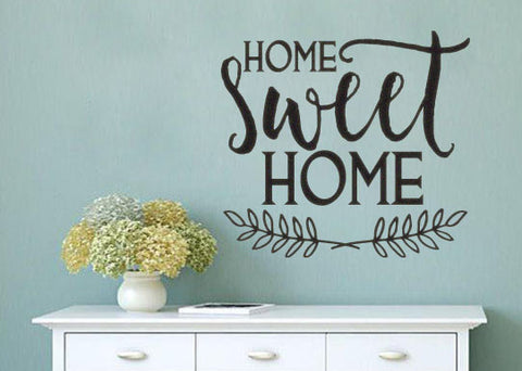 Home Sweet Home Vinyl Wall Decal Sticker with Vine Accent