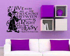 "Harry Potter Choice Between What Is Right And What Is Easy Dumbledore Wall Decal Sticker 14.5""w x 12""h"