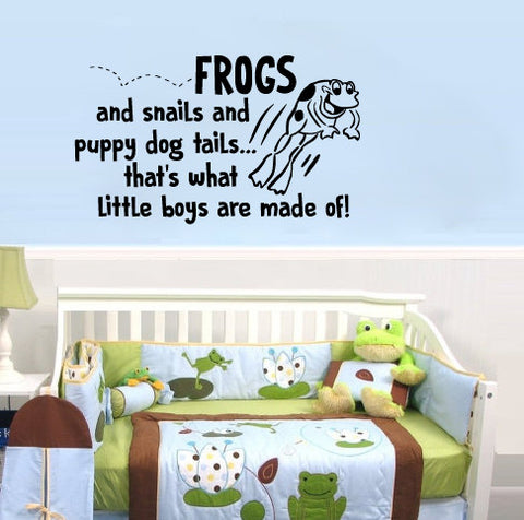 "Frogs And Snails And Puppy Dog Tails That's What Little Boys Are Made Of Wall Decal Sticker 20.2""w x 12""h"