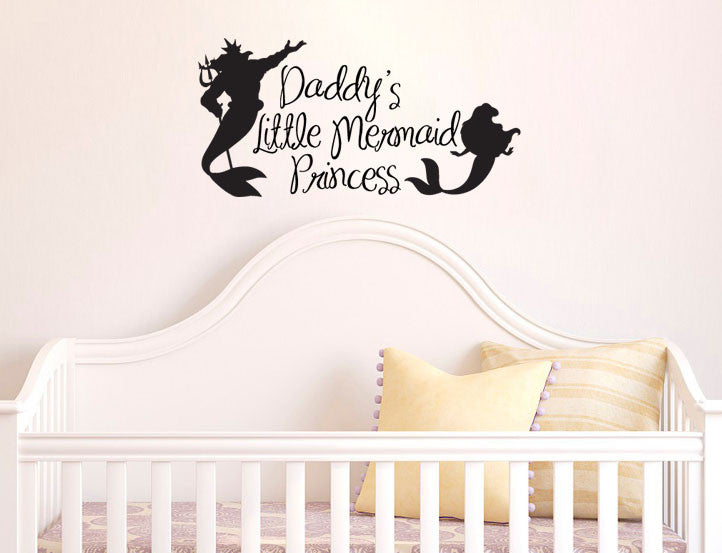 Lucky Girl Decals Wall Decor Sticker Quote Inspired By The Little Mermaid Wall Decal Sticker Daddy'S Princess