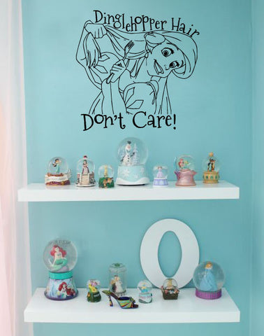 "The Little Mermaid Dinglehopper Hair Don't Care Wall Decal Sticker 12.3""w x 12""h"