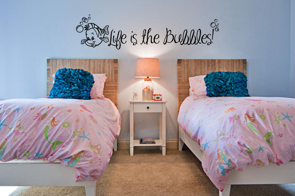 Lucky Girl Decals Wall Decor Sticker Quote Inspired By The Little Mermaid Wall Decal Sticker Life Is The Bubbles