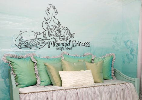 "The Little Mermaid Princess Sleeps Here Wall Decal Sticker 18.7""w x 12""h"