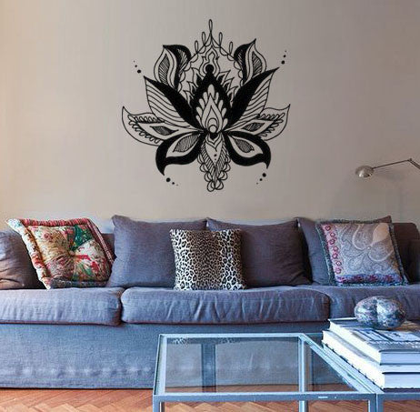 "Lucky Girl Decals Wall Decor Sticker Quote Lucky Girl Decals Wall Decor Sticker Quote Ornate Lotus Boho Bohemian Wall Decal Sticker Large 21.5""W X 21""H - Lucky Girl Decals"