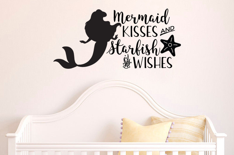 Lucky Girl Decals Wall Decor Sticker Quote Inspired By The Little Mermaid Wall Decal Sticker Mermaid Kisses Starfish Wishes