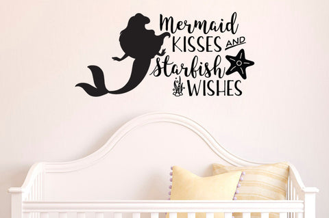"The Little Mermaid Mermaid Kisses Starfish Wishes Wall Decal Sticker 25.3""w x 12""h"