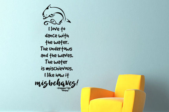 Lucky Girl Decals Wall Decor Sticker Quote Lucky Girl Decals Wall Decor Sticker Quote I Love To Dance With The Water - Lucky Girl Decals