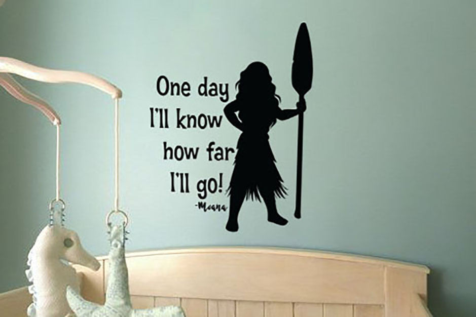 Lucky Girl Decals Wall Decor Sticker Quote Inspired By Moana Wall Decal Sticker One Day I'Ll Know How Far I'Ll Go