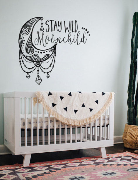 "Lucky Girl Decals Wall Decor Sticker Quote Stay Wild Moonchild Moon Child 14.4"" X 12"" Boho Bohemian Wall Decal Sticker"