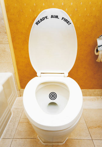 "Ready Aim Fire Target Training Toilet Decal Sticker 4""h x 4""w"