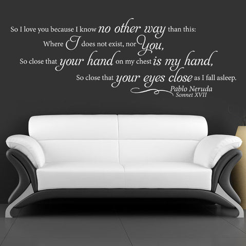 "Shakespeare Sonnet 17 Wall Decal Sticker 34""w x 12""h"