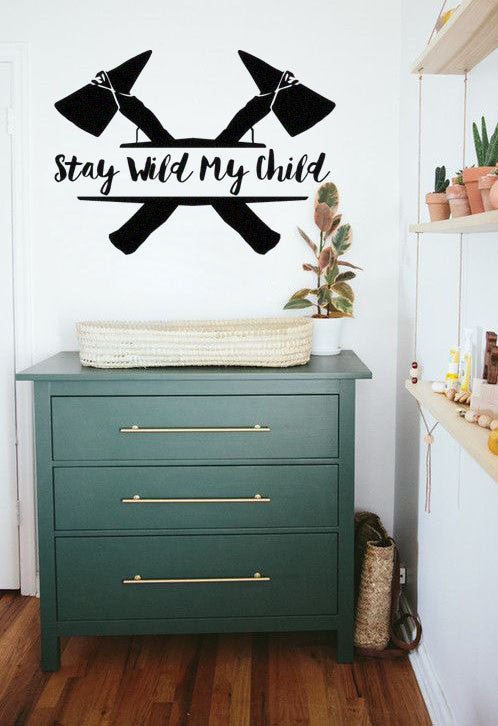 Lucky Girl Decals Wall Decor Sticker Quote Stay Wild My Child Boho Inspired Vinyl Wall Decal Sticker
