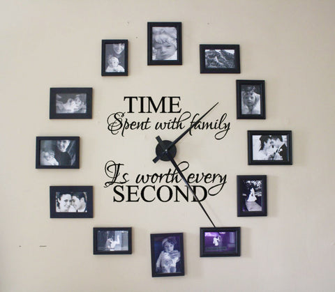 Time Spent With Family Is Worth Every Second Wall Decal For Clock - Decals Only
