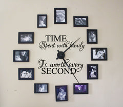 Lucky Girl Decals Wall Decor Sticker Quote Time Spent With Family Is Worth Every Second Vinyl Wall Decal Sticker For Clock - Decals Only