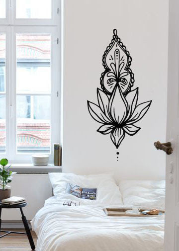 Lucky Girl Decals Wall Decor Sticker Quote Unolome Narrow Ornate Lotus Boho Bohemian Wall Decal Sticker