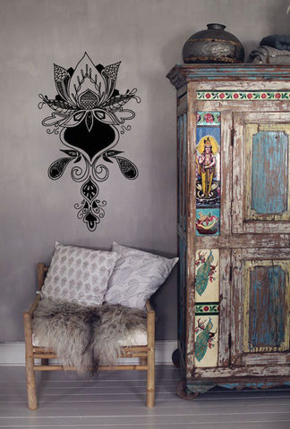 "Unolome Ornate Lotus Boho Bohemian Wall Decal Sticker Large 22""w x 38.5""h"