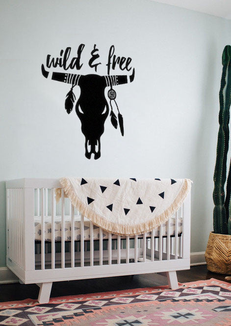 "Lucky Girl Decals Wall Decor Sticker Quote Wild And Free Cow Skull With Feathers Dream Catcher Boho Bohemian Indian Wall Decal Sticker 19.4""W X 21""H"