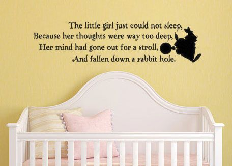 Lucky Girl Decals Wall Decor Sticker Quote Alice In Wonderland Inspired Wall Decal Sticker The Little Girl Just Could Not Sleep Because Her Thoughts Were Way Too Deep - Lucky Girl Decals