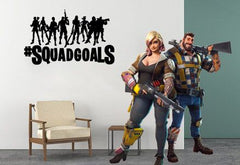 "Inspired by Fortnite Players Heros Hashtag Squad Goals #Squadgoals For Gamer Wall Decal Sticker 19.6"" W By 12"" H"