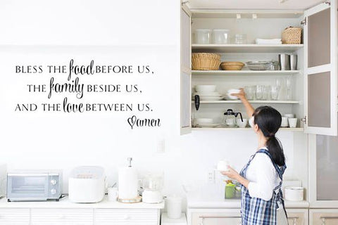 "Bless The Food Before Us Wall Decal Sticker 15.20""w x 12.5""h"