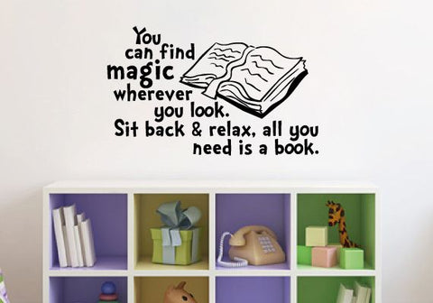"All You Need Is A Book Wall Decal Sticker 19.6""W by 12""H"