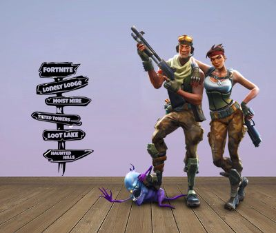 "Inspired by Fortnite Direction Sign Post Locations Wall Decal Sticker 21"" W By 37.8"" H"