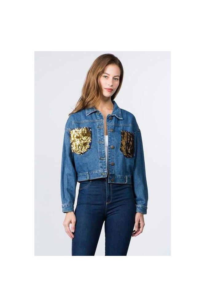 Sequin Pocket Denim Jacket