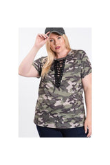 Camo Print Lace Tie Up Top.