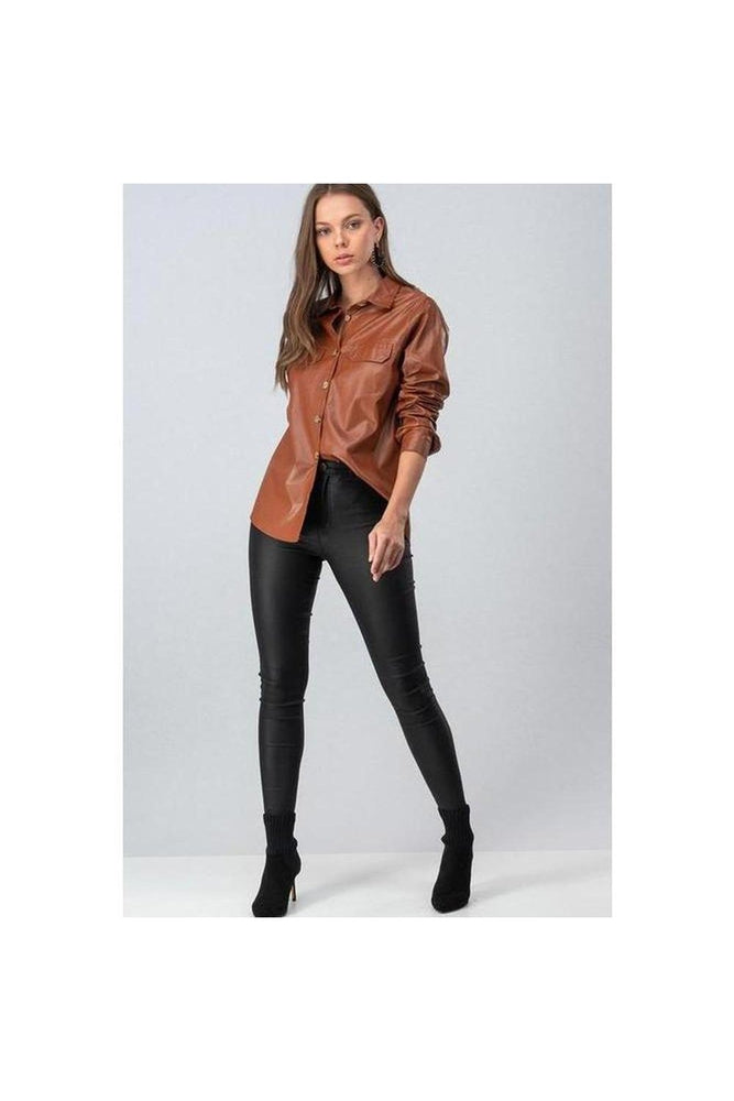 Faux Leather Button Down Shirt