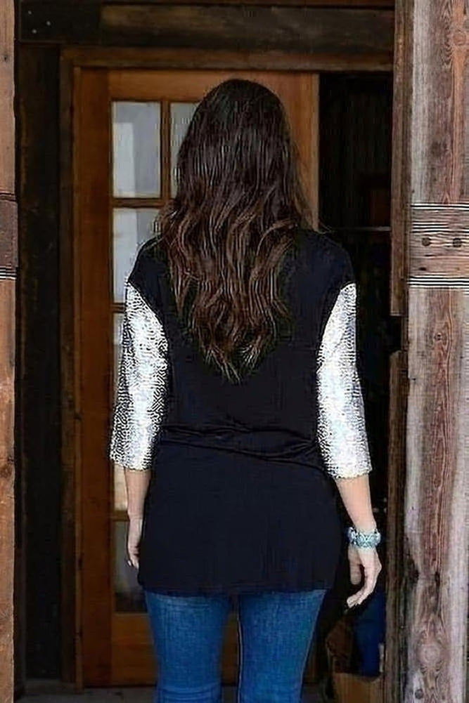 Sequin Sleeve Tee