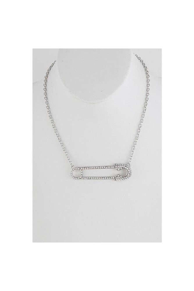 Rhinestone Safety Pin Necklace