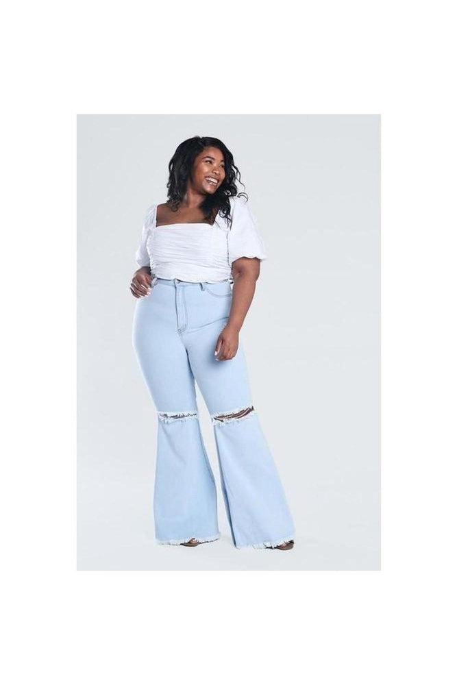 Light Denim Knee Hole Bell Bottoms