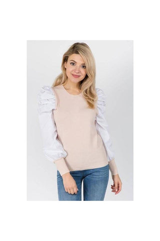 Poplin Contrast Sleeve Top