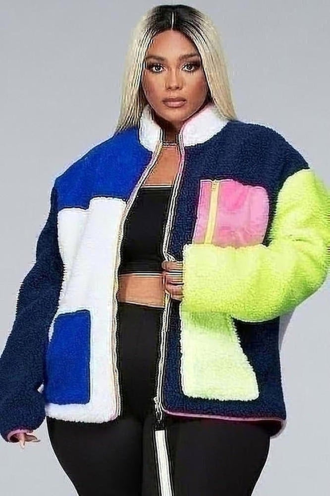 Curvy ColorBlock Fleece Jakcet Coat
