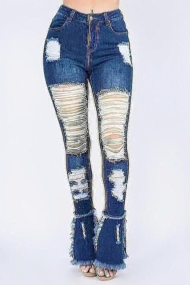 Extended Distressed Jeans