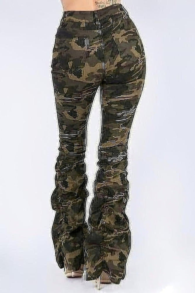 Camo Stacked Denim Jeans