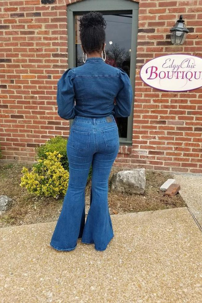 Two-Tone Flare Jeans