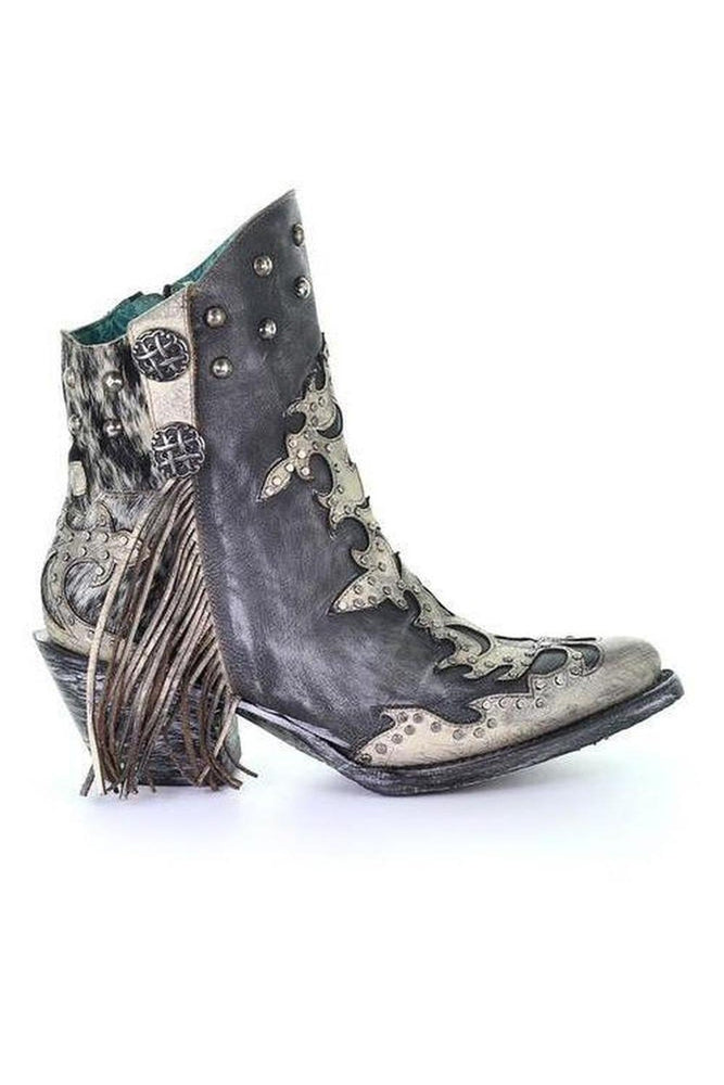 Distressed Concho Ankle Boot